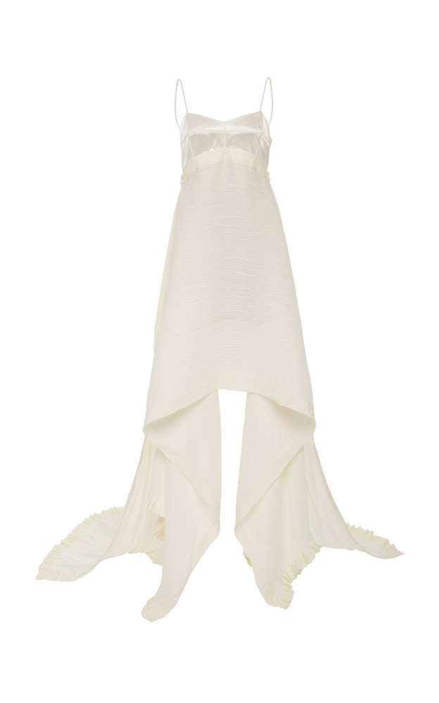 Danielle Frankel Jaq Silk Georgette Gown Size: 0 in white