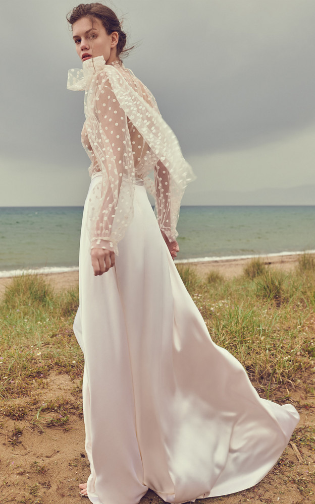 Costarellos Silk Crepe Maxi Skirt in white