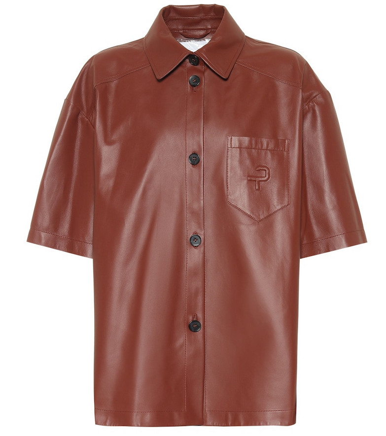 Common Leisure Leather shirt in brown