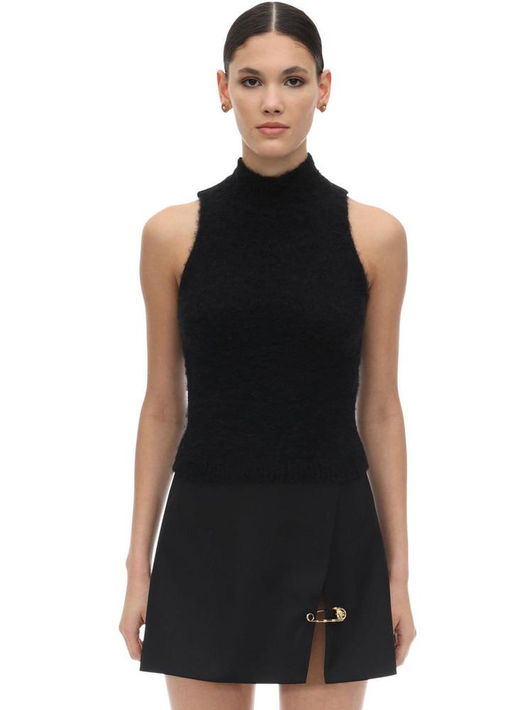 VERSACE Halter Neck Mohair Blend Knit Crop Top in black