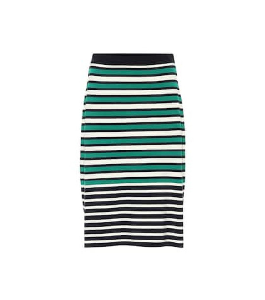 Tory Sport Striped knit skirt in green