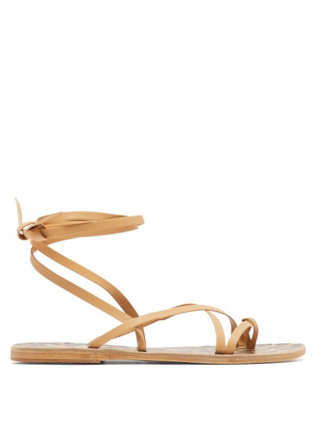 Ancient Greek Sandals - Morfi Beige Leather Sandals - Womens - Beige Multi