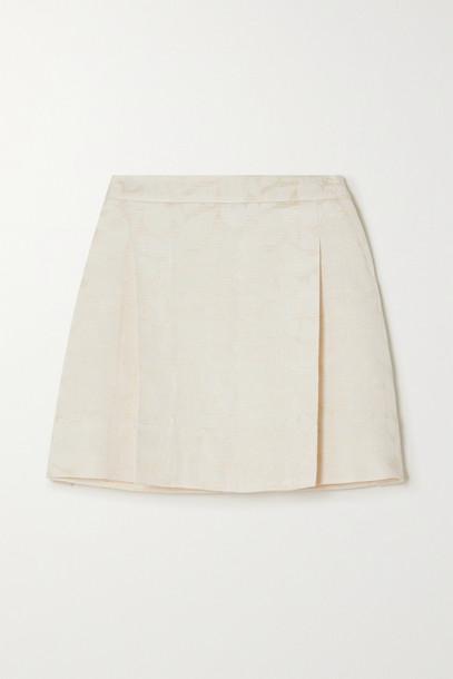 MINJUKIM - Silk-jacquard Mini Skirt - Neutrals