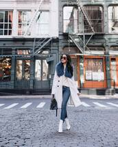 jeans,skinny jeans,frame,white boots,ankle boots,white coat,double breasted,zara,black bag,white sweater,turtleneck sweater