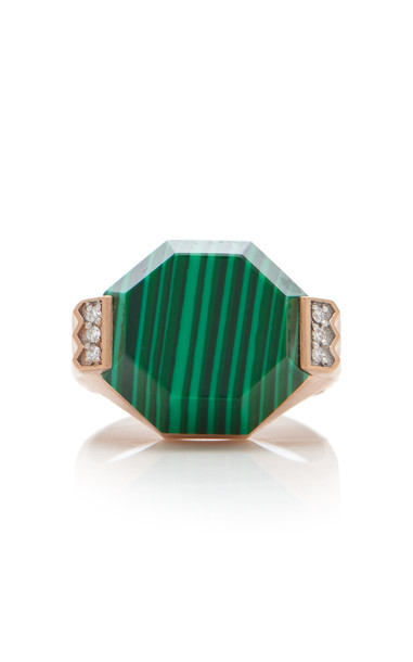 Melis Goral 14K Gold, Malachite And Diamond Ring Size: 7 in green