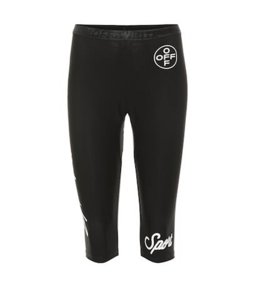 Off-White Logo cropped leggings in black