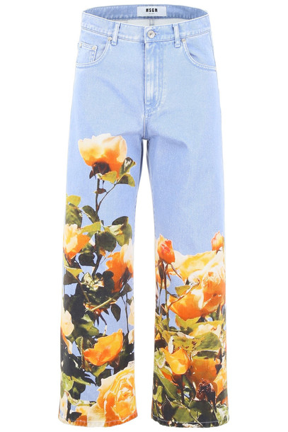 MSGM Jeans With Floral Print