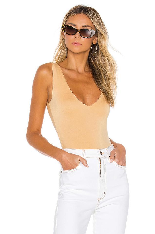 Lovers + Friends Diane Bodysuit in beige