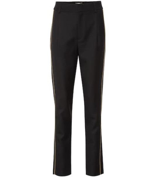 Saint Laurent Embroidered straight wool pants in black