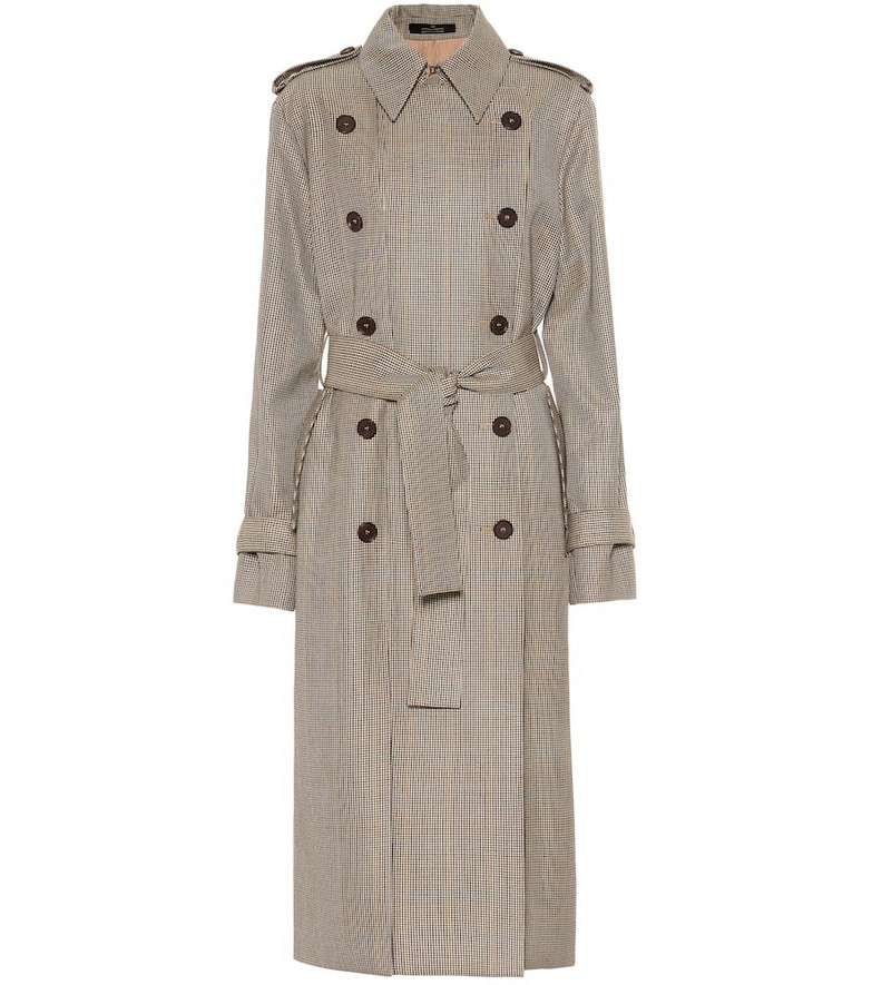 Rokh Houndstooth wool trench coat in brown