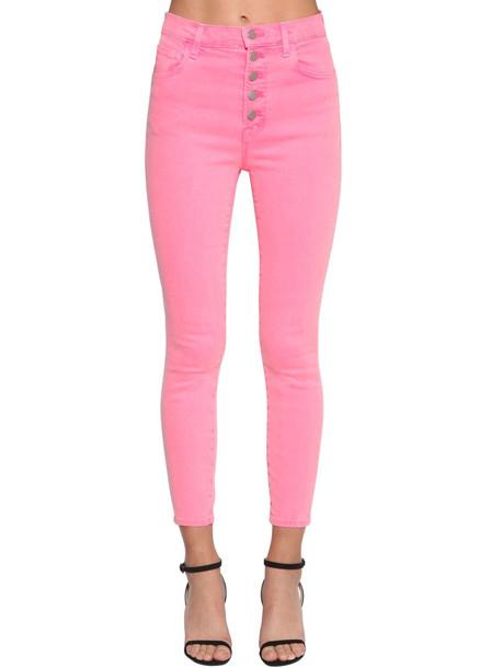 J BRAND Lillie Buttoned Skinny Denim Jeans in fuchsia