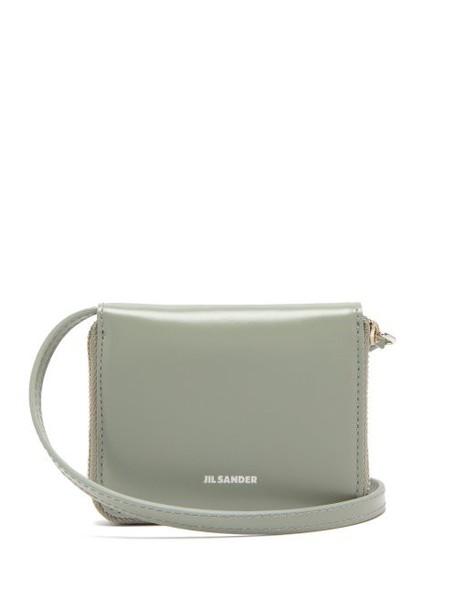 Jil Sander - Leather Cross Body Wallet Bag - Womens - Light Green