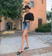 top,black top,crop tops,lace,zimmermann,denim shorts,High waisted shorts,hat,slide shoes