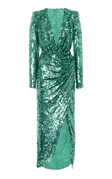 Zuhair Murad Sequin-Embellished Crepe Gown Size: 34 in green