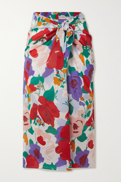 Faithfull The Brand - Floral-print Cotton-voile Pareo - Red