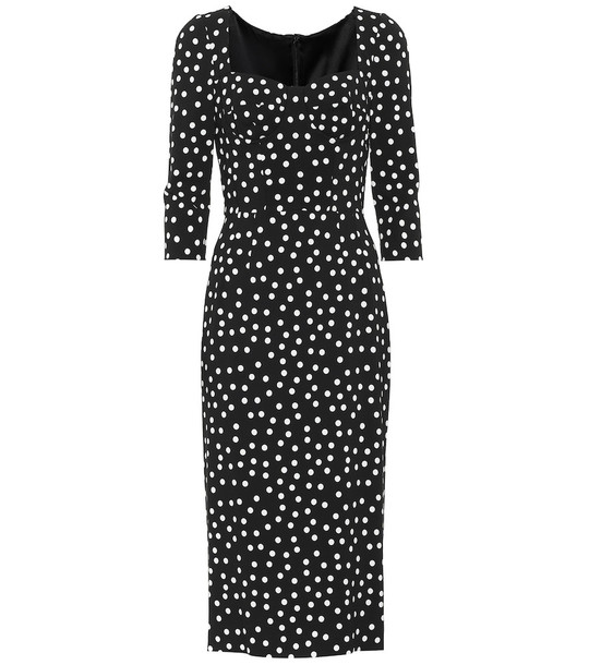 Dolce & Gabbana Dotted cady midi dress in black