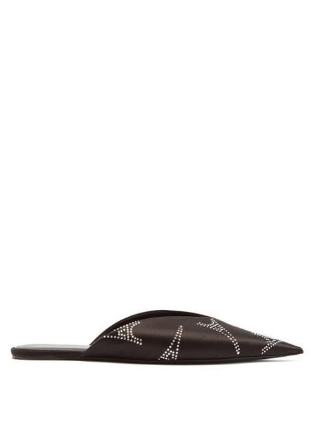 Balenciaga - Knife Eiffel Crystal Backless Satin Loafers - Womens - Black