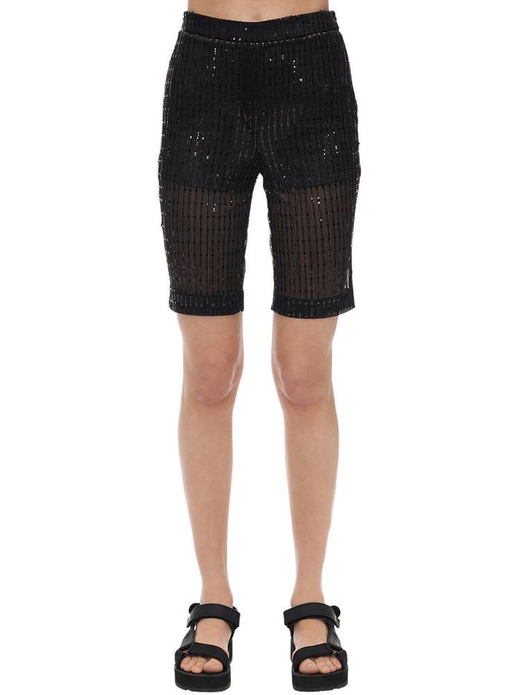 WE11 DONE Glittered Mesh Biker Shorts in black