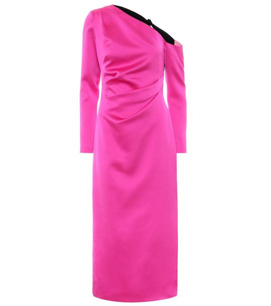 RASARIO One-shoulder stretch-satin midi dress in pink