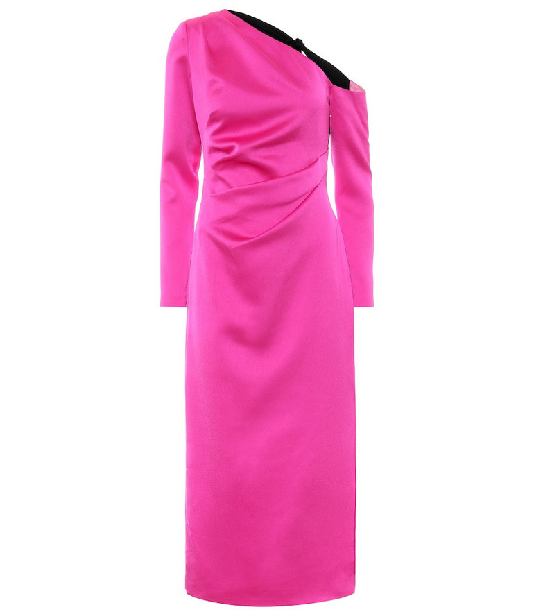 RASARIO One-shoulder stretch-satin midi dress in pink