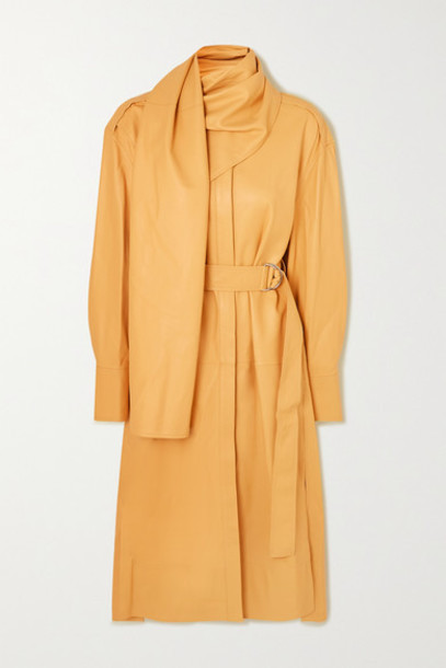 Proenza Schouler - Belted Draped Leather Midi Dress - Sand