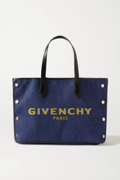 Givenchy - Bond Leather-trimmed Printed Denim Tote - Blue