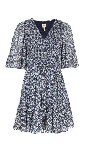 La Vie Rebecca Taylor Short Sleeve Petula Smocked Dress in indigo