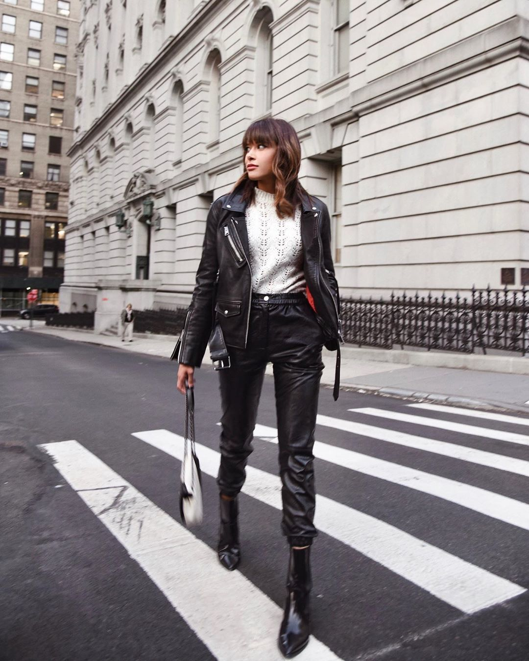 pants black leather pants ankle boots black leather jacket white sweater bag