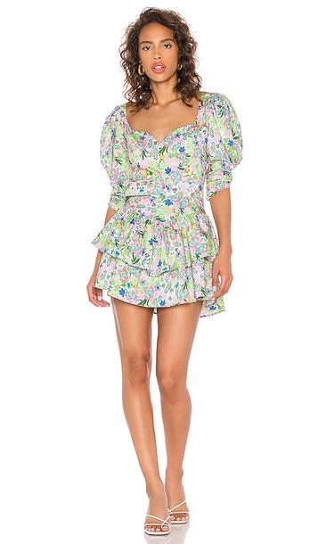 For Love & Lemons Jardine Mini Dress in Green