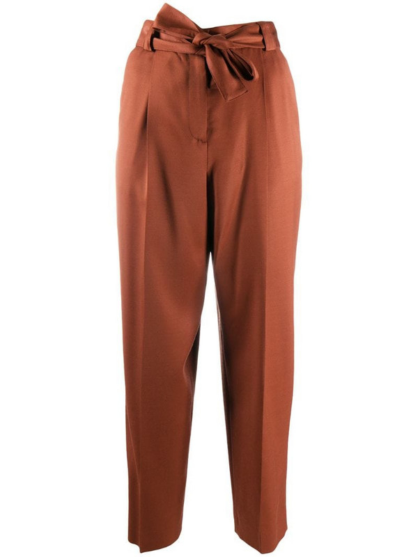 Pt01 tie-waist cropped trousers in brown