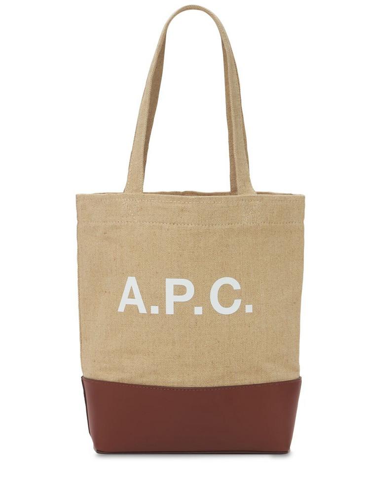 A.P.C. Sm Logo Burlap & Leather Tote Bag