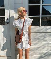 bag,brown bag,chloe,white dress,mini dress