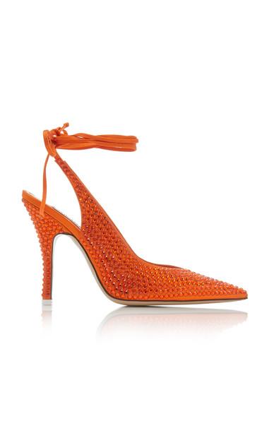 Attico Venus Satin Embellished Pumps in orange