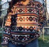 sweater,zarape print,aztec sweater