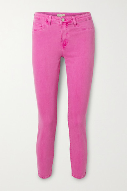 L'Agence - Margot Cropped High-rise Skinny Jeans - Magenta