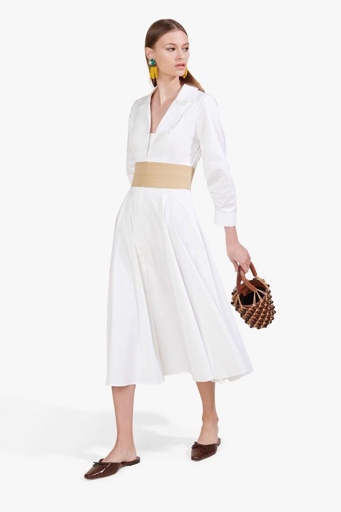 Staud HARPER DRESS   WHITE SAND