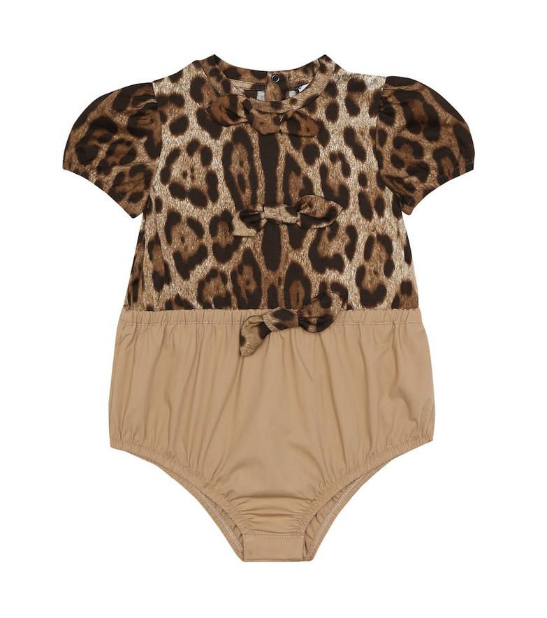 Dolce & Gabbana Kids Baby leopard-print cotton bodysuit in brown