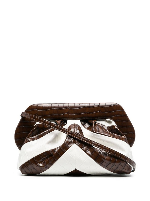 Themoirè Bios crocodile-effect clutch in brown