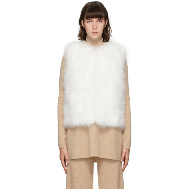 Yves Salomon White Feather Cropped Jacket