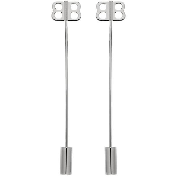 Balenciaga Silver BB Pin Earrings