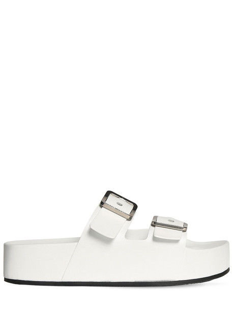 BALENCIAGA 50mm Mallorca Leather Platform Sandals in white