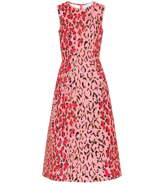 Carolina Herrera Printed stretch-cotton dress in pink