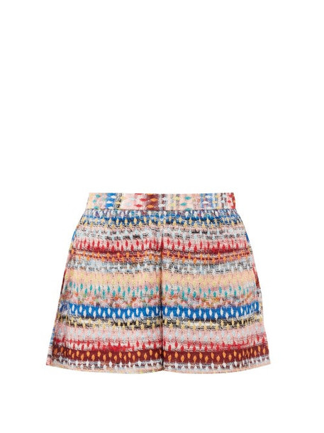 Missoni Mare - Glitter-striped Lace-knitted Shorts - Womens - Multi