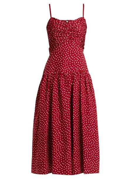 Rebecca Taylor - Heart Print Ruched Silk Dress - Womens - Burgundy Print