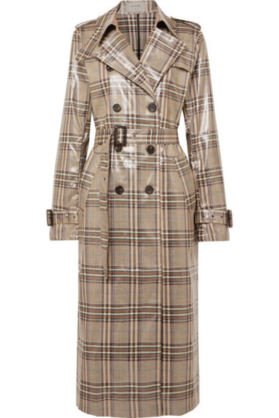 MUNTHE - Handsome Checked Vinyl Trench Coat - Taupe