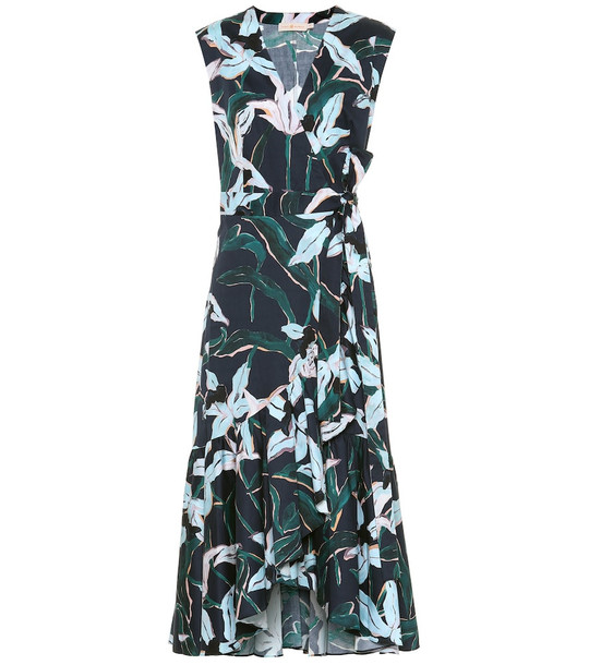 Tory Burch Floral cotton midi dress in blue