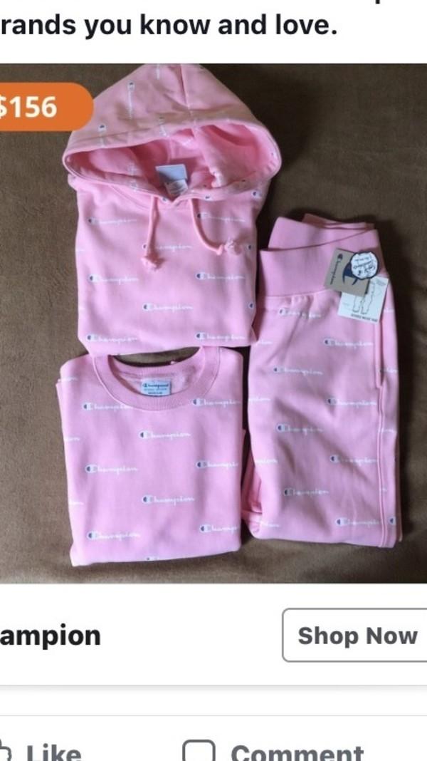 sweater champion hoodie pink pants shirt top