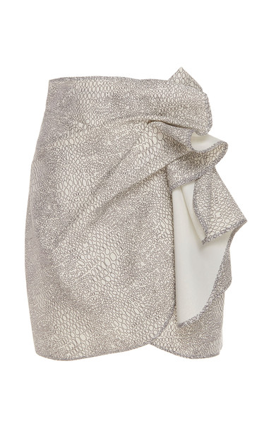 Acler Bronte Ruffled Wrap-Effect Metallic Snake-Print Skirt Size: 2