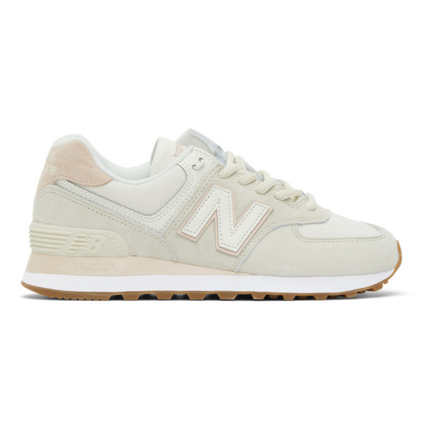 New Balance Off-White and Pink 574 Sneakers in cream