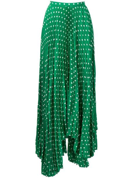 Plan C polka dot asymmetric skirt in green